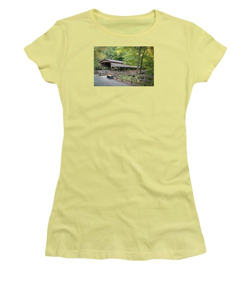 Lanterman's Mill Covered Bridge Women's T-Shirt (Athletic Fit)