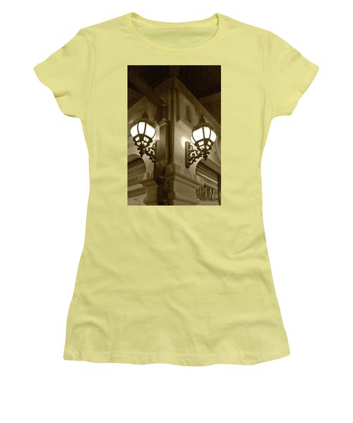 Women's T-Shirt (Junior Cut) featuring the photograph Lanterns - Night In The City - In Sepia by Ben and Raisa Gertsberg