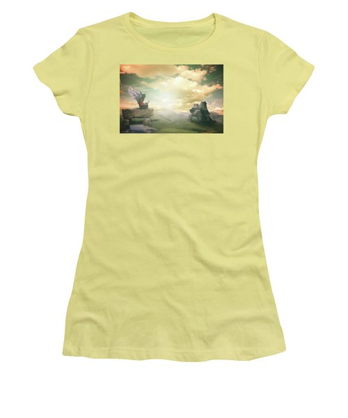 Women's T-Shirt (Junior Cut) featuring the digital art Laptop Dreams by Nathan Wright
