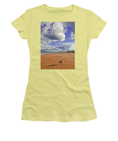 Women's T-Shirt (Junior Cut) featuring the photograph Last Day At The Beach by Jim Moore