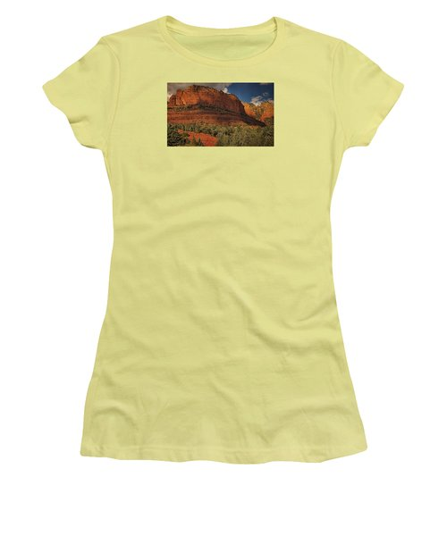 Late Light At Brin's Mesa Txt Pano Women's T-Shirt (Athletic Fit)