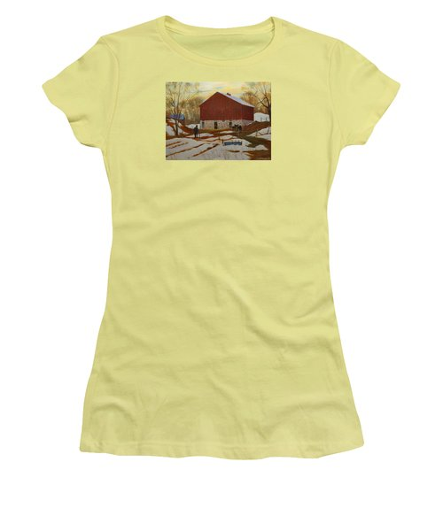 Late Winter At The Farm Women's T-Shirt (Junior Cut) by David Gilmore
