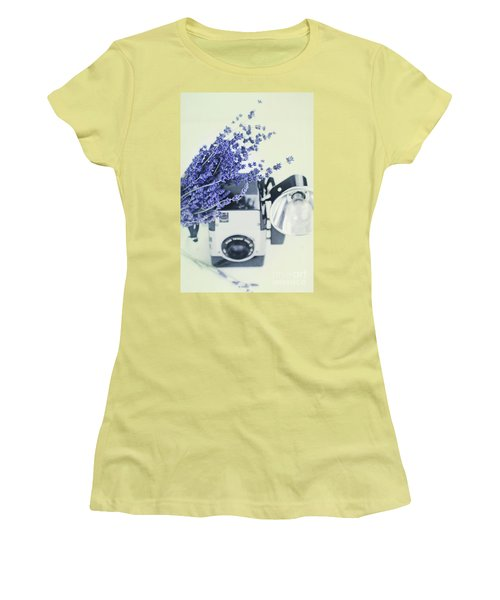 Lavender And Kodak Brownie Camera Women's T-Shirt (Junior Cut) by Stephanie Frey
