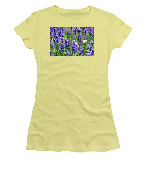 Women's T-Shirt (Junior Cut) featuring the photograph Lavender And The Heart by Ryan Manuel