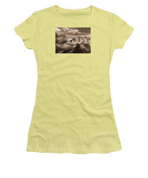 Women's T-Shirt (Junior Cut) featuring the drawing Lawn by Mikhail Savchenko