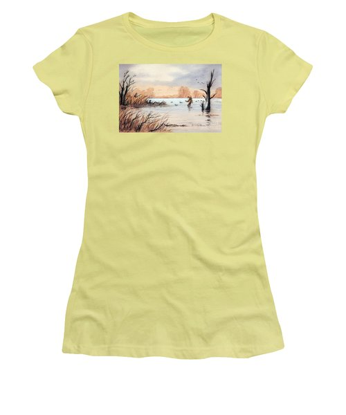 Laying Out The Decoys I Women's T-Shirt (Junior Cut) by Bill Holkham
