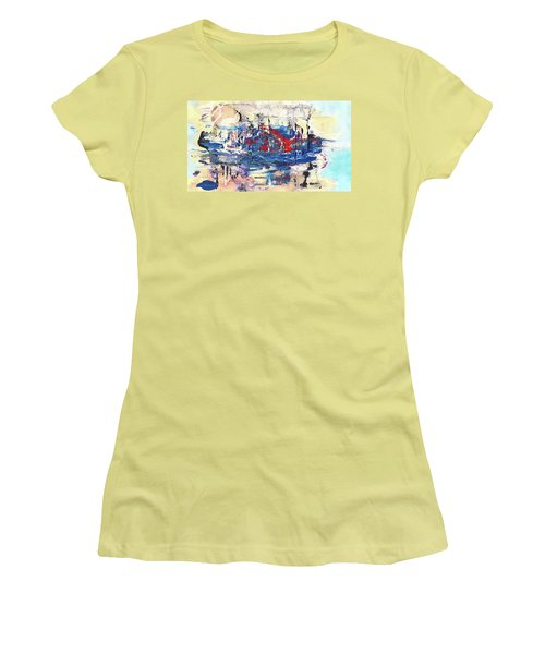 Laziness - Large Bright Pastel Abstract Art Women's T-Shirt (Athletic Fit)