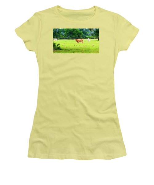 Lazy Afternoon In The Life Of A Cow Women's T-Shirt (Athletic Fit)