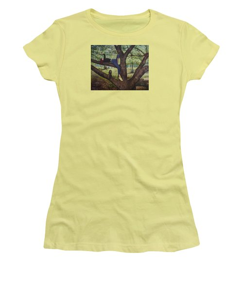 Women's T-Shirt (Junior Cut) featuring the painting Lea Henry And The Henry Tree by Ron Richard Baviello
