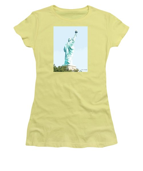 Women's T-Shirt (Junior Cut) featuring the painting Leap Of Liberty by Denise Tomasura