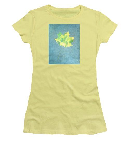 Leaves Through Maple Leaf On Texture 1 Women's T-Shirt (Junior Cut) by Gary Slawsky