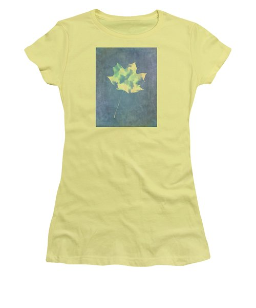 Women's T-Shirt (Junior Cut) featuring the photograph Leaves Through Maple Leaf On Texture 3 by Gary Slawsky