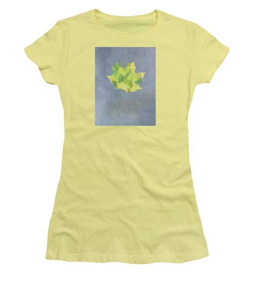 Leaves Through Maple Leaf On Texture 4 Women's T-Shirt (Junior Cut) by Gary Slawsky