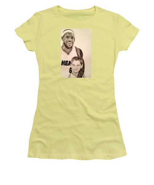 Women's T-Shirt (Junior Cut) featuring the painting Lebron And Carter by Tamir Barkan