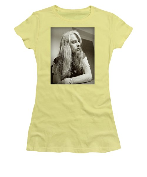 Women's T-Shirt (Junior Cut) featuring the photograph Leon Russell 1970 by Martin Konopacki Restoration