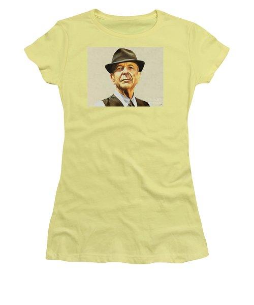 Leonard Cohen Women's T-Shirt (Junior Cut) by Sergey Lukashin