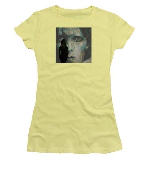Women's T-Shirt (Junior Cut) featuring the painting Let The Children Lose It Let The Children Use It Let All The Children Boogie by Paul Lovering