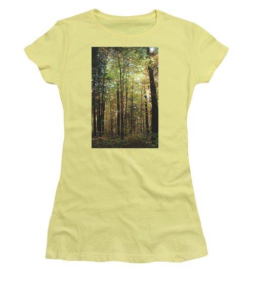 Women's T-Shirt (Junior Cut) featuring the photograph Light Among The Trees Vertical by Felipe Adan Lerma