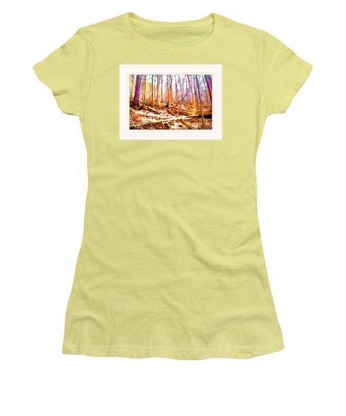 Women's T-Shirt (Junior Cut) featuring the photograph Light Between The Trees by Felipe Adan Lerma