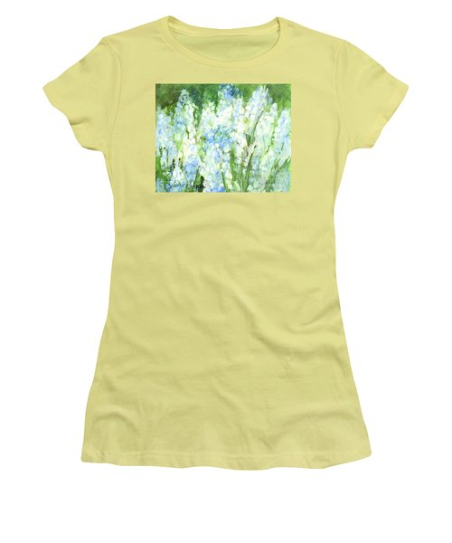 Women's T-Shirt (Junior Cut) featuring the painting Light Blue Grape Hyacinth. by Laurie Rohner