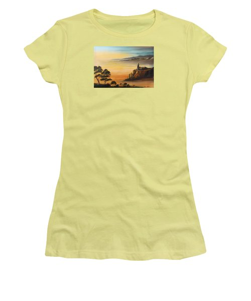 Lighthouse At Sunset Women's T-Shirt (Junior Cut) by Remegio Onia