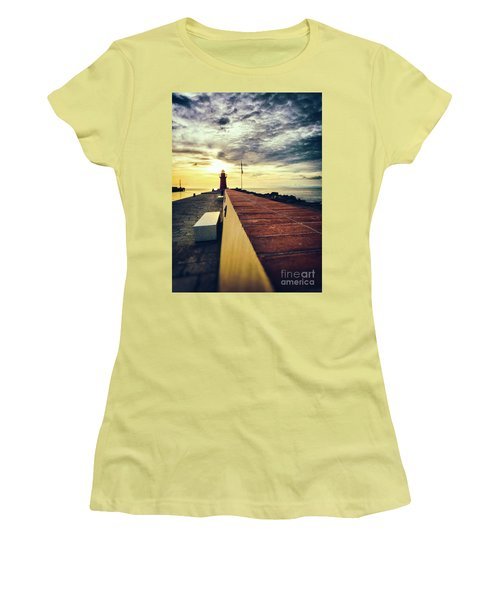 Women's T-Shirt (Athletic Fit) featuring the photograph Lighthouse At Sunset by Silvia Ganora