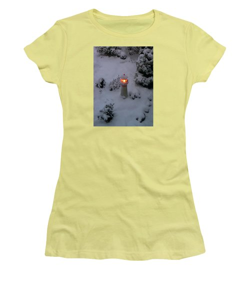 Women's T-Shirt (Junior Cut) featuring the photograph Lighthouse In The Snow by Kathryn Meyer
