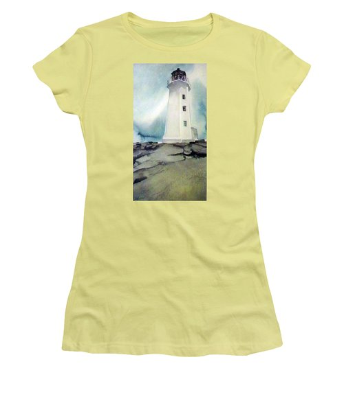 Women's T-Shirt (Junior Cut) featuring the painting Lighthouse Rock by Ed Heaton