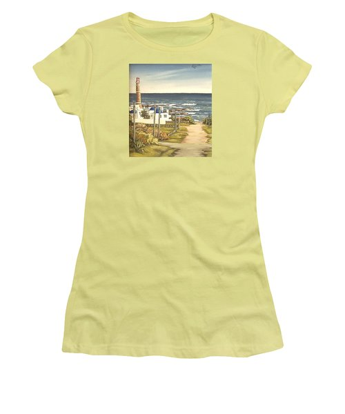 Women's T-Shirt (Junior Cut) featuring the painting Lighthouse Uruguay  by Natalia Tejera