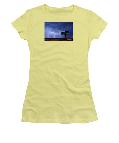 Lightning Storm On A Lonely Country Road Women's T-Shirt (Junior Cut) by Art Whitton