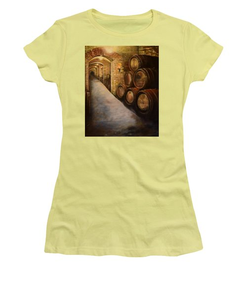 Lights In The Wine Cellar - Chateau Meichtry Vineyard Women's T-Shirt (Athletic Fit)