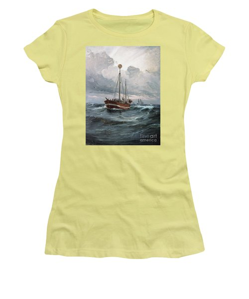 Women's T-Shirt (Junior Cut) featuring the painting Lightship At Skagen Reef by Pg Reproductions
