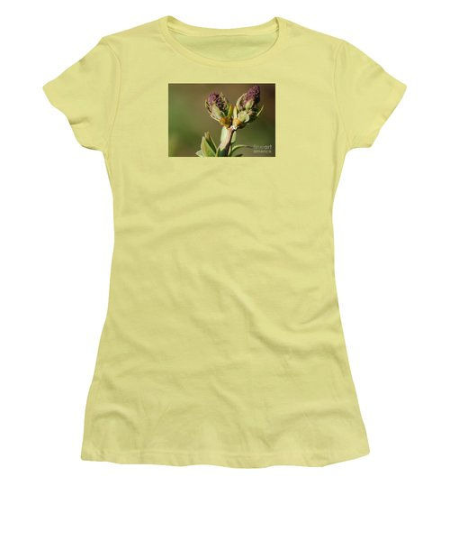 Women's T-Shirt (Junior Cut) featuring the photograph Lilac Bud by Randy Bodkins