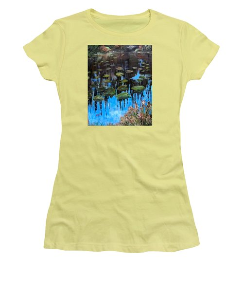 Lilly Pads And Reflections Women's T-Shirt (Junior Cut) by Barbara O'Toole