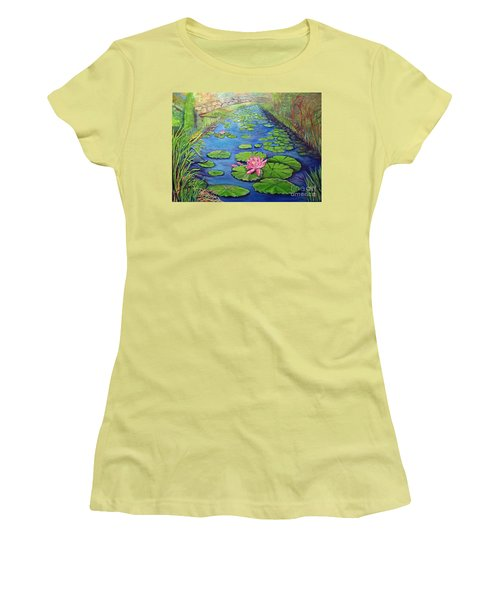 Water Lily Canal Women's T-Shirt (Junior Cut) by Ecinja Art Works