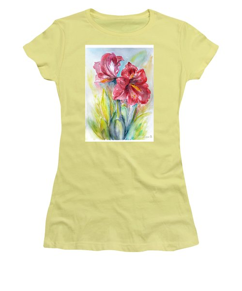 Women's T-Shirt (Junior Cut) featuring the painting Lily Red by Jasna Dragun