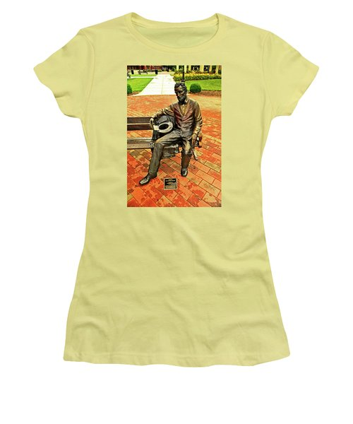 Women's T-Shirt (Junior Cut) featuring the photograph Lincoln Library Statue 004 by George Bostian