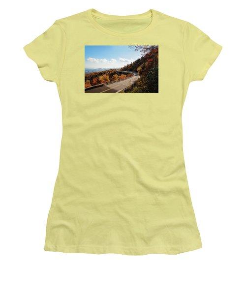 Linn Cove Viaduct Women's T-Shirt (Junior Cut) by Deborah Scannell