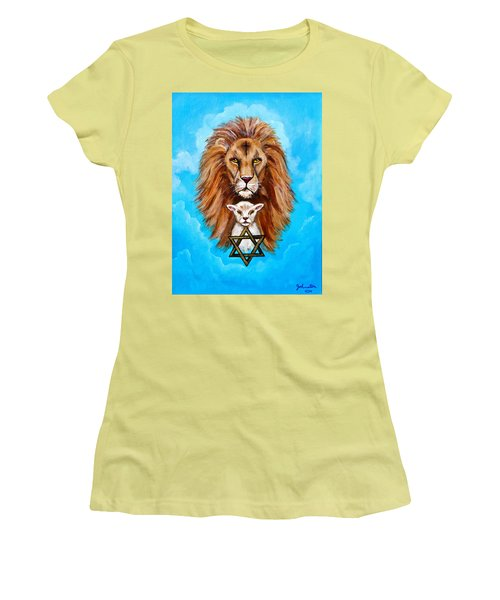 Women's T-Shirt (Junior Cut) featuring the painting Lion Lies Down With A Lamb by Bob and Nadine Johnston