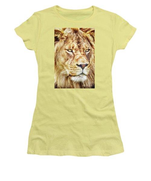 Lion-the King Of The Jungle Large Canvas Art, Canvas Print, Large Art, Large Wall Decor, Home Decor Women's T-Shirt (Junior Cut) by David Millenheft