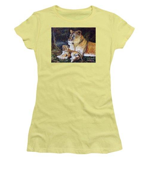 Lioness And Cub Women's T-Shirt (Junior Cut) by Ruanna Sion Shadd a'Dann'l Yoder