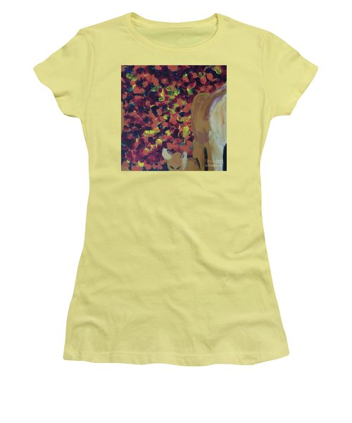 Women's T-Shirt (Athletic Fit) featuring the painting Lioness' Pride 2 Of 6 by Donald J Ryker III