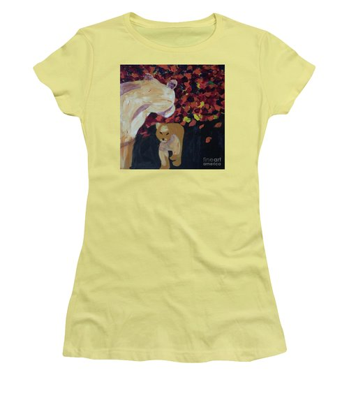 Women's T-Shirt (Athletic Fit) featuring the painting Lioness' Pride 3 Of 6 by Donald J Ryker III