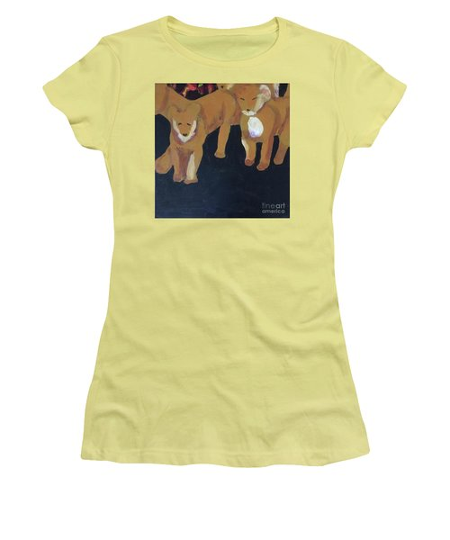 Women's T-Shirt (Athletic Fit) featuring the painting Lioness' Pride 5 Of 6 by Donald J Ryker III