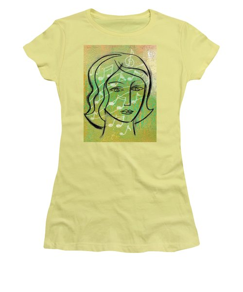 Women's T-Shirt (Junior Cut) featuring the painting Listening To Music by Leon Zernitsky