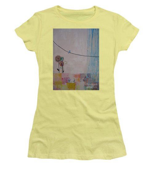 Women's T-Shirt (Junior Cut) featuring the painting Little Birdie by Ashley Price