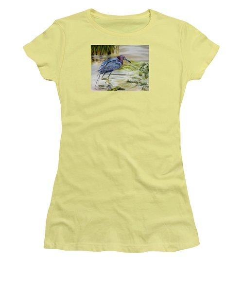 Little Blue Heron In The Bay Women's T-Shirt (Junior Cut) by Phyllis Beiser
