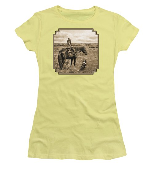 Little Cowgirl On Cattle Horse In Sepia Women's T-Shirt (Junior Cut) by Crista Forest