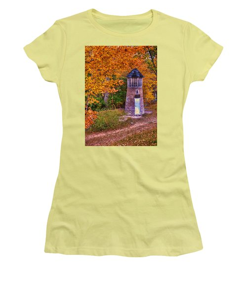 Women's T-Shirt (Junior Cut) featuring the photograph Little Falls Autumn Lighthouse by Trey Foerster