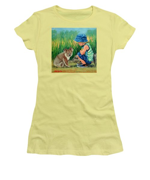 Women's T-Shirt (Junior Cut) featuring the painting Little Friends by Margaret Stockdale